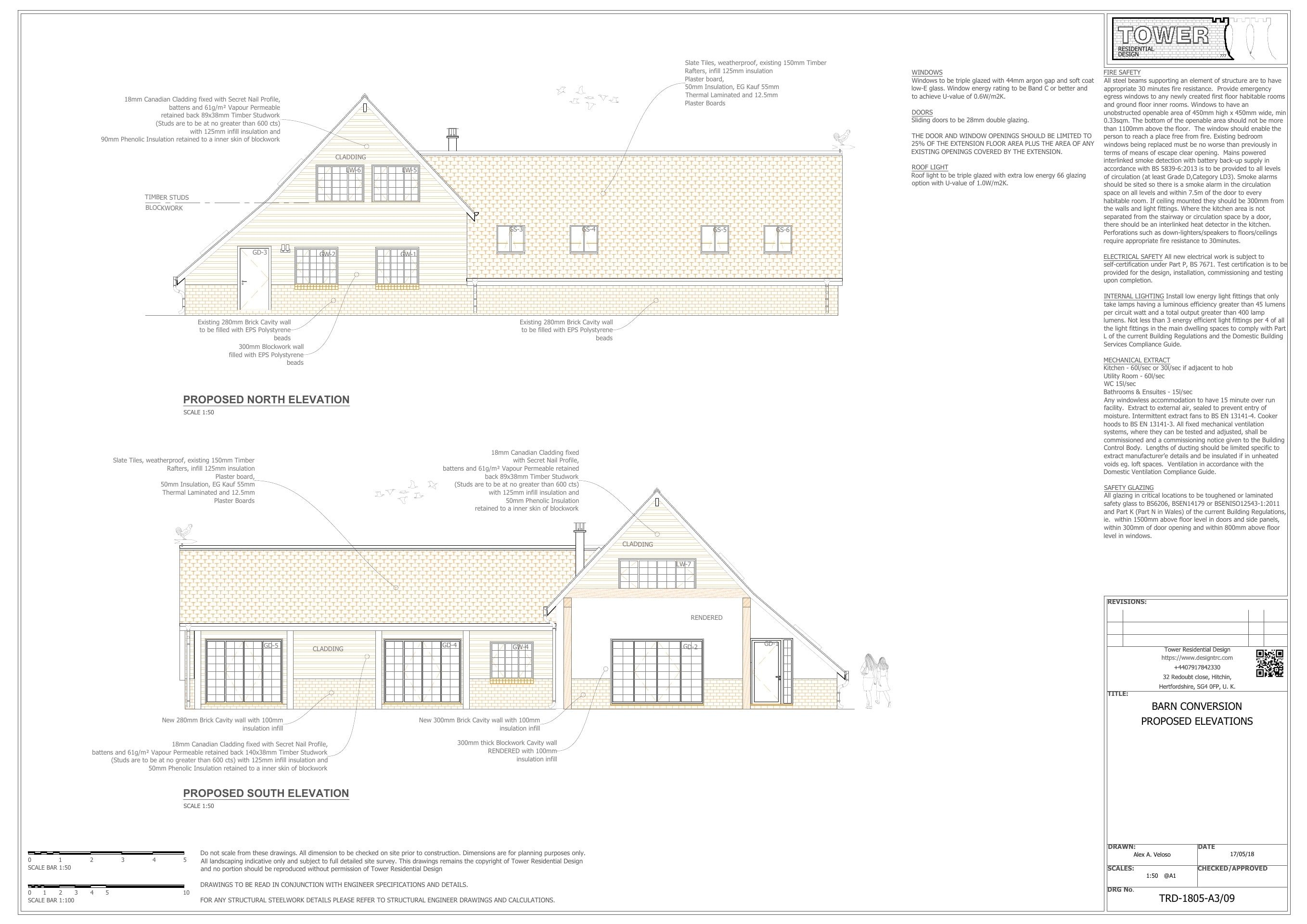 Barn Conversion - Proposed Front and Rear Elevations