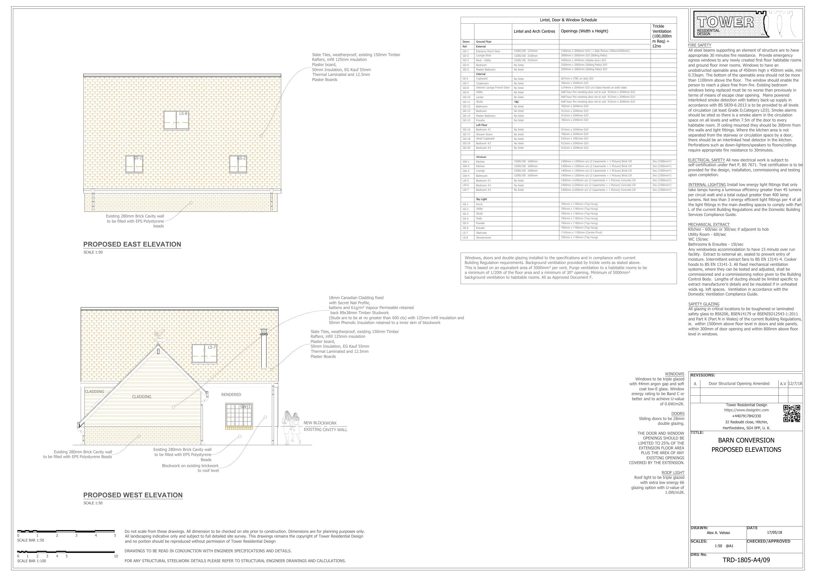 Barn Conversion - Proposed Side Elevations
