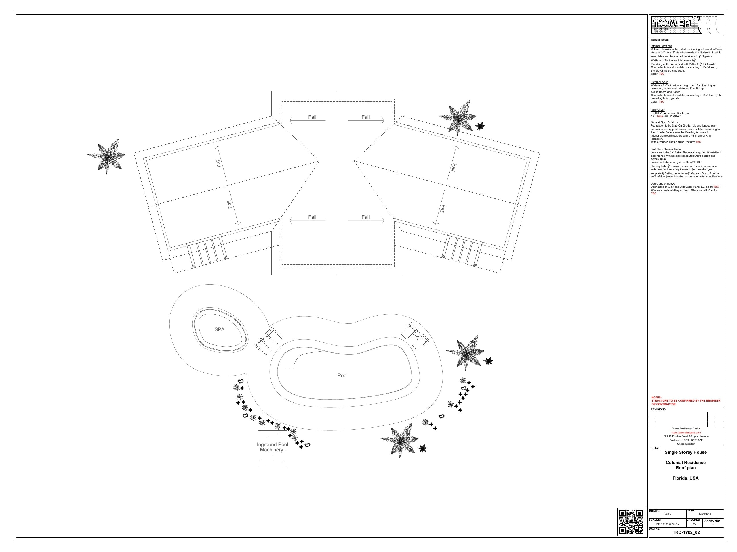Colonial Architecture - Roof and Land Plan