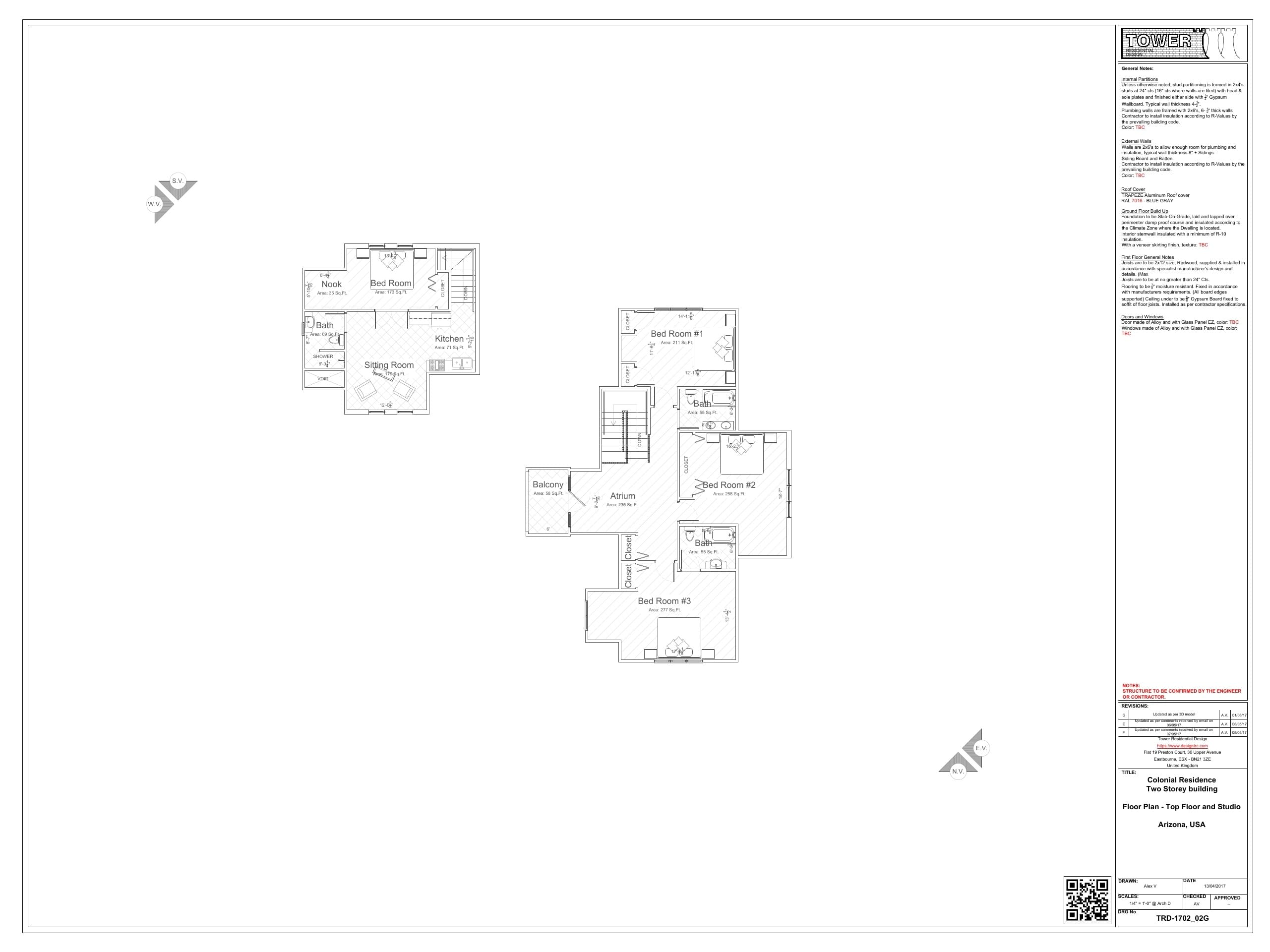 Contemporary/French Architecture - Upper Floor Plan